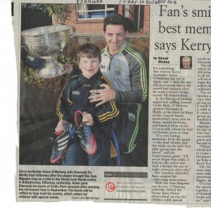 Aidan O'Mahony visited us with his boots which he gave to Diarmuid at Home From Home.
