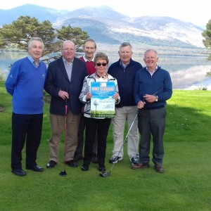 included in photo left to right Frank McGonigle, Jim and Angela Brosnan, Ted Bowler, Dick Willis Chairperson Bom and Michael Leahy Secretary Bom. Photo taken at Killarney Golf and Fishing Club Mahonys Point